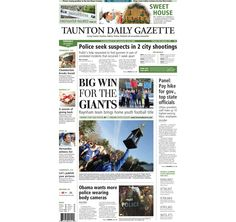 The front page of the Taunton Daily Gazette for Tuesday, Dec. 2, 2014.