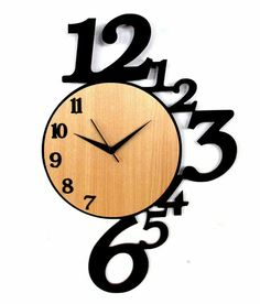 Panache Wooden Number Wall Clock: Buy Panache Wooden Number Wall Clock at Best Price in India on Snapdeal Unique Clocks, Cool Clocks, Big Wall Clocks, Clock Art, Diy Clock, Clock Ideas, Wood Crafts, Diy And Crafts, Wall Watch