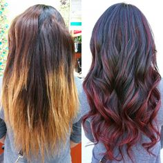 Haarfarbe Braun Lila Ausgezeichnet Correction Ombre To Red Sombre … – Damen Haare Black Hair With Highlights, Hair Color Highlights, Ombre Hair Color, Brown Hair Colors, Dark Red Hair With Brown, Red Ombre, Color Correction Hair, Color Del Pelo, Best Ombre Hair