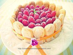 My Charlotte cake with raspberries and Peach
