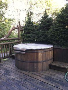 Hot tub on deck at Mankas fishing cabin