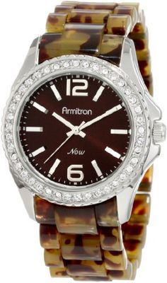 Armitron Women's 753935BNTO Swarovski Crystal NOW Silver-Tone and Tortoise Resin Bracelet Watch Armitron. $36.95. Water-resistant to 99 feet (30 M). Brown dial with silver-tone Arabic numerals at 12-6 and index markers. Silver-tone and tortoise shell resin bracelet. Swarovski crystal accented bezel. Silver-tone hour hands; Sweep second hand. Save 26% Off!