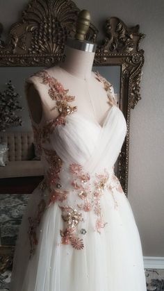 5d2925bf647f54 Olivia - Gold and Blush Floral Embroidered Beaded A-Line Wedding Dress