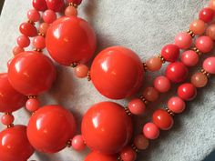 REDUCED: Big Bold Persimmon Orange Multi-Strand Statement