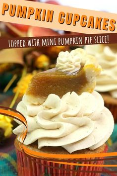 When you want to eat both a cupcake and a slice of pumpkin pie, you make a batch of these Mini Pumpkin Pie Cupcakes! Pumpkin spice cupcakes are topped with cinnamon frosting and finished off with a slice of mini pumpkin pie! #ThePurplePumpkinBlog #CupcakeRecipes #HalloweenRecipes Pumpkin Pie Cupcakes, Mini Pumpkin Pies, Spice Cupcakes, Mini Pumpkins, Canned Pumpkin, Pumpkin Pie Spice, Cupcake Recipes From Scratch, Dessert Recipes For Kids, Halloween Food For Party