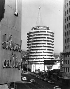 Historic Photograph of Capitol Records Tower in Los Angeles, Ca near Hollywood & Vine. Built 1956. Beautiful historic building.