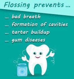 What Does Flossing Really Do? - Flossing does more than just get out food particles annoyingly stuck between your teeth. It also prevents bad breath, cavities, tartar buildup, and gum disease. Dental Facts, Dental Humor, Dental Hygiene, Dental Care, Dental Assistant, Dentist Jokes, Children's Dental, Dental Quotes, Teeth Dentist