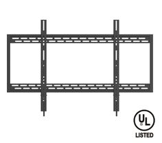 """QualGear® QG-TM-090-BLK UL Listed Heavy Duty Fixed TV Wall Mount for Most 60""""-100"""" Flat Panel and Curved TVs, Black"""