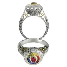 Rainbow Sapphire 20and 20amp Diamond Hand Engraved Ring 14 Karat RE7028 P for about $2420.00