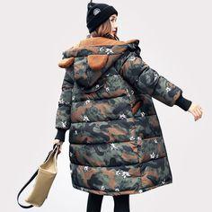 2017 Black New Long Parkas Female Women Winter Coat Camouflage Thicken Winter Jacket Womens Outwear for Women Winter Outwear
