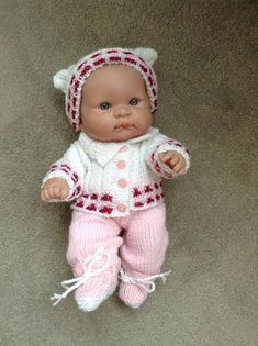 Hand knitted dolls clothes to fit 14 Berenguer Lots to