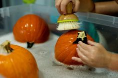 No Carve Pumpkin Decorating with Glow-In-the-Dark Paint 2021 - Entertain Your Toddler No Carve Pumpkin Decorating, Pumpkin Carving, Toddler Classroom, Classroom Activities, Bubble Recipe, Painted Pumpkins, The Darkest, Bubbles, Glow