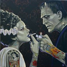 'Pretty Girls Don't Light Their Own Cigarettes' by Mike Bell - Prints on Wood Show @ Distinction Gallery, Escondido - via beautiful. Frankenstein Tattoo, Bride Of Frankenstein, Frankenstein Costume, Arte Horror, Horror Art, Mike Bell, Classic Horror Movies, Goth Art, Halloween Art