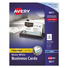 Avery Two Side Printable Clean Edge Business Cards Inkjet 2 X 3 1 White 400 Box