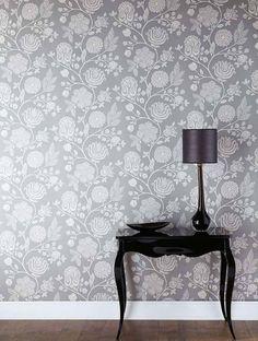 ♅ Dove Gray Home Decor ♅ Grey Wallpaper Grey Pattern Wallpaper, Grey Floral Wallpaper, Interior And Exterior, Interior Design, Home Wallpaper, Amazing Wallpaper, Wallpaper Online, Dining Room Walls, French Decor