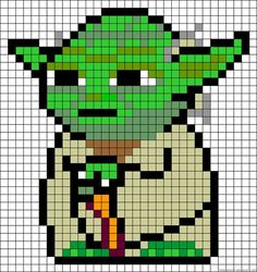Yoda perler bead pattern. Also can be used for cross-stitch...Gotta try this!