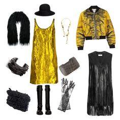 """black loves yellow..."" by harikleiatsirka on Polyvore featuring Prada, Balenciaga, Lynn Ban, Stephen Webster, Dolce&Gabbana, Moschino, Yves Saint Laurent, Eugenia Kim, Scanlan Theodore and Kofta"