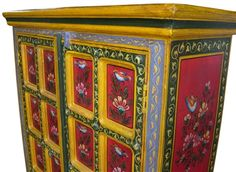 red bird painted indian furniture