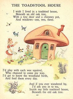 prints illustrations Childrens Toadstool House by ImpalaPrints Fairy Land, Fairy Tales, Nursery Rhymes Poems, Poetry For Kids, Pomes, Kids Poems, Old Oak Tree, Rhymes For Kids, Vintage Children's Books