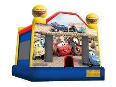 Cars Bounce House, Cars Bouncer Retnal, Cars Jumper Rentals 800-873-8989    Rent the Cars bounce house for your next party or event. This beautiful Cars bouncer has all your popular characters from the famous Cars movie. Let your special one have a racing good time in this Cars bounce house. Perfect for boys events who are cars crazy.