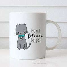 Funny Mug Anniversary Gift For Girlfriend Boyfriend Wife Husband Romantic Birthday I Love You Cat Pun Felines Her Him Gifts Mugs Cup Cups  Ive Got Felines For You. This funny cat mug is a fun way to say I love you to your girlfriend, boyfriend, wife, husband, that special someone in your life!  Perfect for Christmas, Valentines Day, birthdays, anniversaries or simply just because, this cute little cat will put a smile on their face and make a sweet companion to their daily coffee routine…
