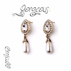 """Beautiful Pearl & Crystal Pavé Teardrop Earrings! Who doesn't need a Beautiful pair of Pearl earrings with Shiny, light catching Clear Crystal Pavé's? Perfect for your night out & to add that finishing touch to the LBD.  - Material: Cream Pearl, clear Crystal pavé, 18K Gold Plating - Nickel Free Plating - Size: Approx. 2.12"""" X 1.7""""  - Price Firm unless Bundled - Bundle 2 or more items for 20% Discount! - No Trades - PayPal is now accepted thru Posh! Boutique Jewelry Earrings"""