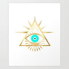 evil eye triangle on white Art Print