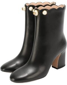 1ef0cee301e2 Black Pearl Embellished Gg Leather Ankle Boots Booties