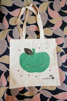 Sac Toile Coton biologique  Imprimé Pomme Verte  par pergelisol, €16.00