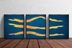 Set of 3 printable Gold Abstract Lines Artwork, Wall decor, Gold Brush Wall Art, Printable Decor Bedroom Wall Art, Digitized Prints Line Artwork, Artwork Prints, Gold Wall Art, Abstract Lines, Printing Services, Printable Wall Art, Blue Gold, Wall Decor, Printables