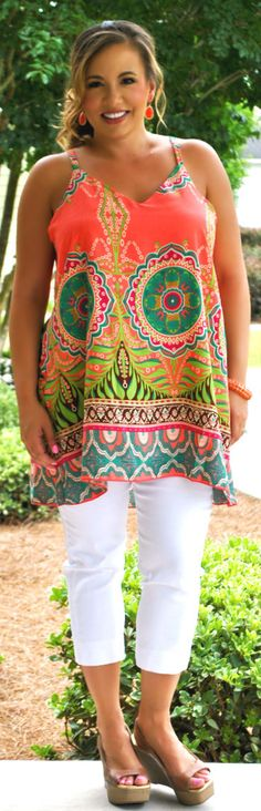 Perfectly Priscilla Boutique - Sunshine On My Shoulders Tank (Coral), $38.00 (http://www.perfectlypriscilla.com/sunshine-on-my-shoulders-tank-coral/)