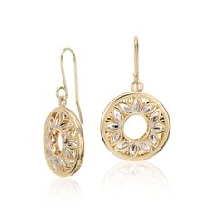 Floral Filigree Earrings in 14k Yellow and White Gold