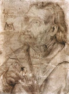 Matthias Grünewald, c.1475-1528, German, Self-Portrait, 1512.  Chalk, 20.6 x 15.2 cm.  Universitätsbibliothek, Erlangen.  German Renaissance.