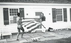 Halston and Victor Hugo with American flag