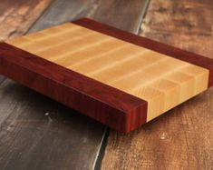 Stunning End Grain Cutting Board Made From Purple Heart and Hard Maple Wood - End Grain Butcher Block - Chopping Block