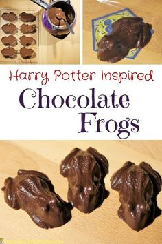 Harry Potter Inspired Chocolate Frogs Check out this super simple recipe for Harry Potter inspired chocolate frogs. They're perfect for your Harry Potter birthday party celebration. The post Harry Potter Inspired Chocolate Frogs appeared first on Rezepte. Harry Potter Snacks, Baby Harry Potter, Natal Do Harry Potter, Harry Potter Motto Party, Gateau Harry Potter, Harry Potter Fiesta, Harry Potter Thema, Harry Potter Halloween Party, Theme Harry Potter