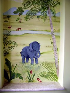 Africa, Jungle, Savannah - more than 70 amazing ideas for decorating kids room in african-jungle style - Modern Interior and Decor Ideas Baby Room Paintings, Baby Painting, Mural Painting, Jungle Room, Jungle Nursery, Painted Boards, Painted Walls, Kids Bedroom, Kids Rooms
