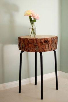 Reutilize um tronco de madeira e pes de um banco