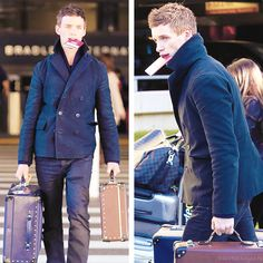 Eddie Redmayne at LAX - January 13, 2014  Reblogging for Eddie's haircut, but also his luggage? That luggage is gorgeous, omg.