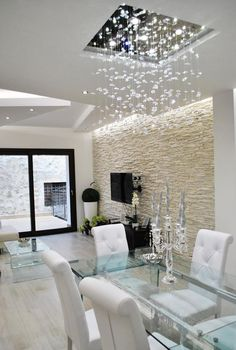 8 Honest Cool Tips: False Ceiling Office Reception false ceiling dining spaces.False Ceiling Office Reception false ceiling design for showroom.False Ceiling Details Home. Interior Design Living Room, Living Room Decor, Stone Wall Living Room, Design Bedroom, Plafond Design, Dining Room Lighting, Kitchen Lighting, Basement Lighting, Hall Lighting