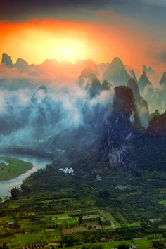 Karst mountains on the Li river in Guilin in Guangxi province, China