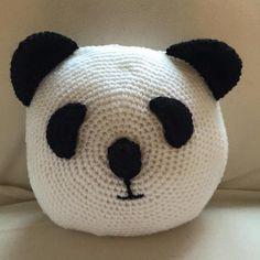 Handmade crochet Panda Pillow.