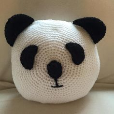 Handmade crochet Panda Pillow.