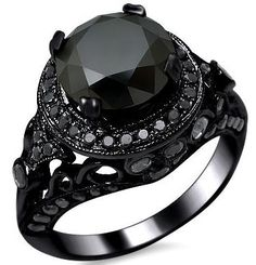 4.05ct Black Round Diamond Antique Style Engagement Ring 14k Black Gold / Front Jewelers