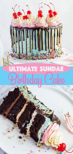 This Ultimate Sundae Birthday Cake is the perfect cake for birthday parties. If you like sundaes, you'll LOVE this fun and delicious version of one! Chocolate Buttercream, Buttercream Cake, Vanilla Frosting, Chocolate Cake, Cake Cookies, Cupcake Cakes, Cupcakes, Decorated Brownies, Almond Cakes