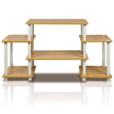 Furinno 11257BE/WH Turn-N-Tube No Tools Entertainment TV Stands Beech/White