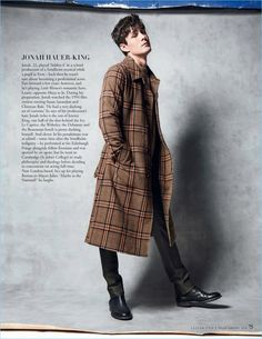 Dressed for a stylish winter, Jonah Hauer-King wears an AMI coat. The Little Women actor also sports an Arket sweater with Ralph Lauren Purple Label trousers and boots.