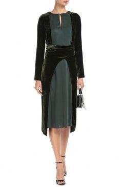 Женское зелёное бархатное платье с поясом и длинным рукавом Lanvin, сезон FW 16/17, арт. RW-DR2016-2393-A16 купить в ЦУМ | Фото №2