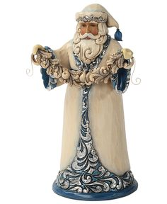 Jim Shore Collectible Figurine, Blue and Silver Santa - Holiday Lane - Macy's