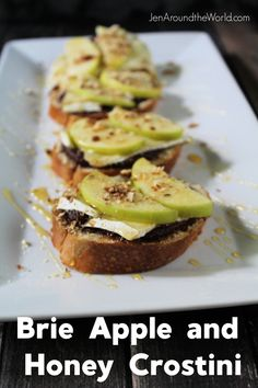Brie Apple and Honey Crostini is an easy appetizer that is perfect for any get together. It comes together in less than 15 minutes but your guests will swear you slaved over it for a while. Quick Recipes, Light Recipes, Side Dish Recipes, Amazing Recipes, Delicious Recipes, Side Dishes, Dinner Recipes, 15 Minute Meals, Good Food